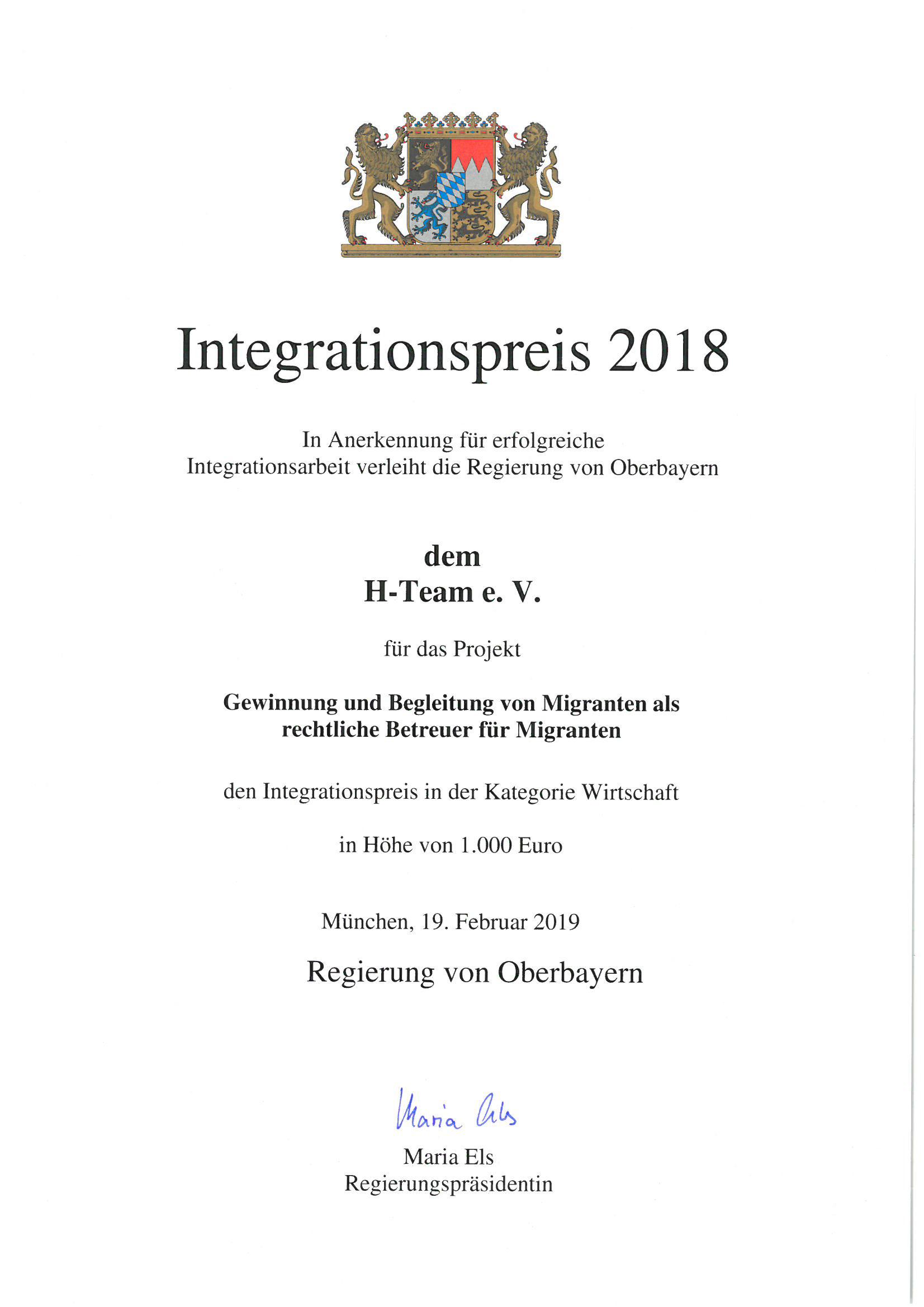Regierung von Oberbayern vergibt einen von sechs Integrationspreisen an den H-TEAM e.V. München